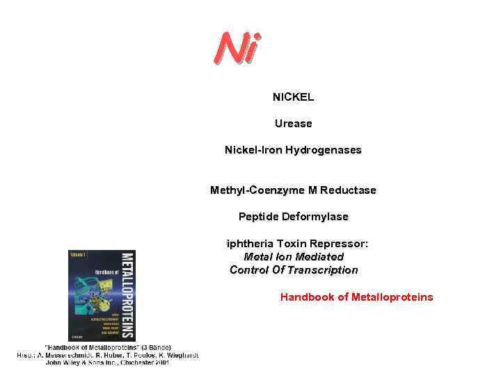 Ni NICKEL Urease Nickel-Iron Hydrogenases Methyl-Coenzyme M Reductase Peptide Deformylase Diphtheria Toxin Repressor: Metal