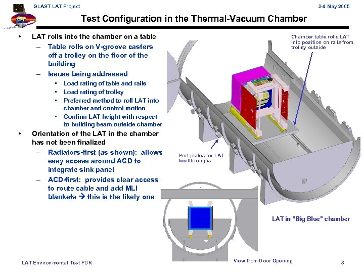 GLAST LAT Project 3 -4 May 2005 Test Configuration in the Thermal-Vacuum Chamber •