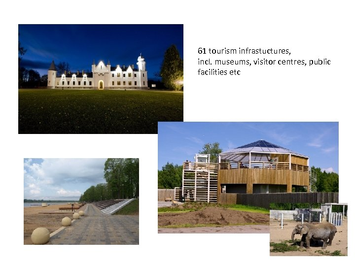 61 tourism infrastuctures, incl. museums, visitor centres, public facilities etc