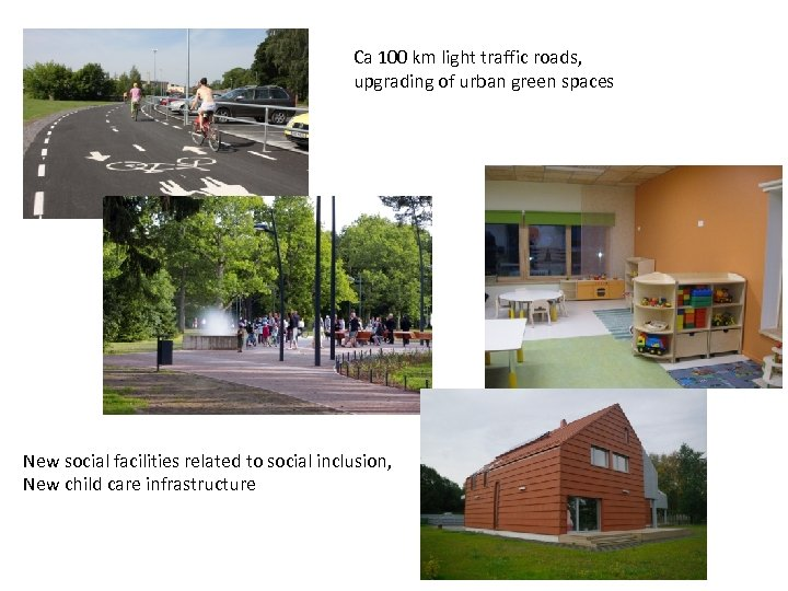 Ca 100 km light traffic roads, upgrading of urban green spaces New social facilities