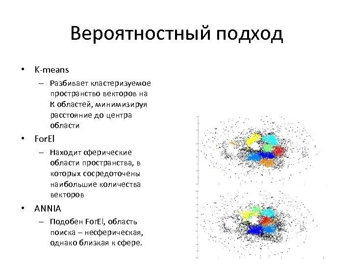 Вероятностный подход • K-means – Разбивает кластеризуемое пространство векторов на К областей, минимизируя расстояние