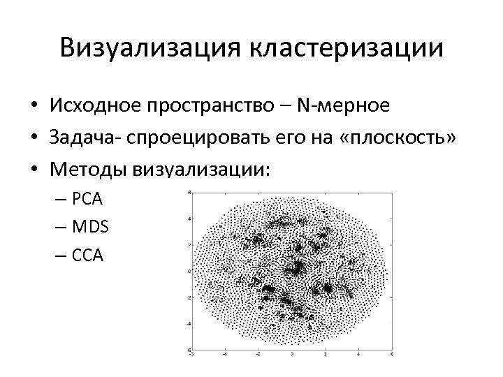 Визуализация кластеризации • Исходное пространство – N-мерное • Задача- спроецировать его на «плоскость» •