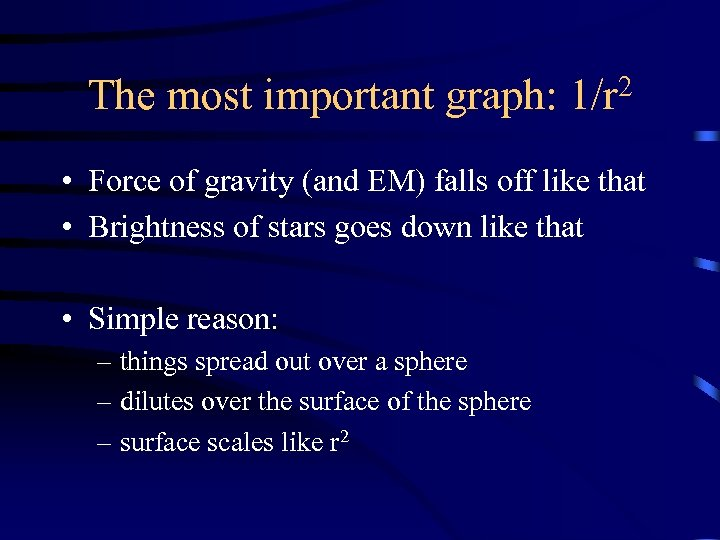 The most important graph: 2 1/r • Force of gravity (and EM) falls off