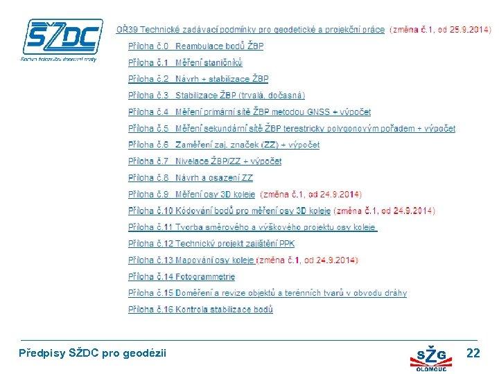 OŘ 36 Opatření k zaměřování objektů železniční dopravní cesty Předpisy SŽDC pro geodézii 22
