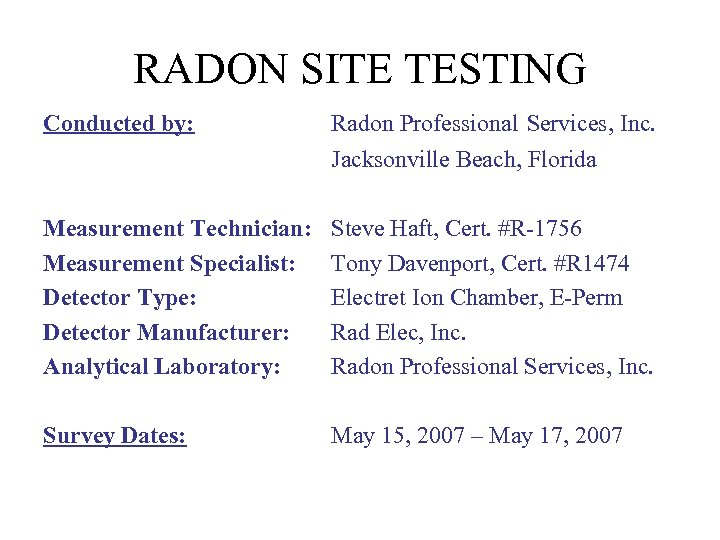 RADON SITE TESTING Conducted by: Radon Professional Services, Inc. Jacksonville Beach, Florida Measurement Technician: