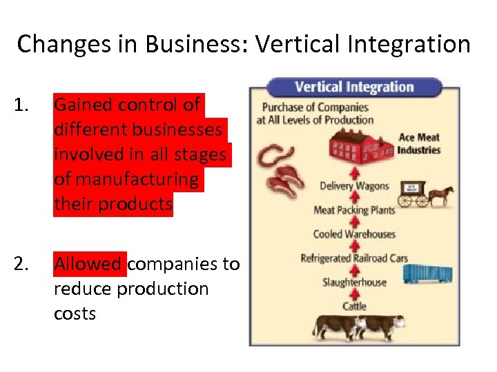 Changes in Business: Vertical Integration 1. Gained control of different businesses involved in all