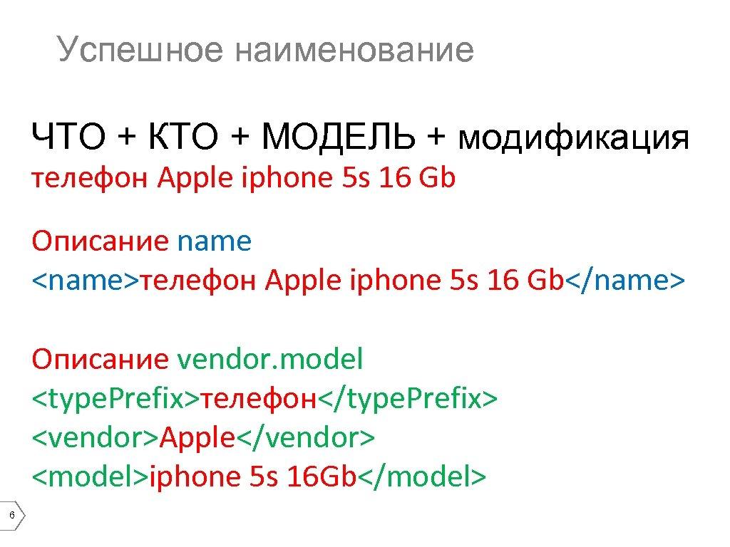 Успешное наименование ЧТО + КТО + МОДЕЛЬ + модификация телефон Apple iphone 5 s