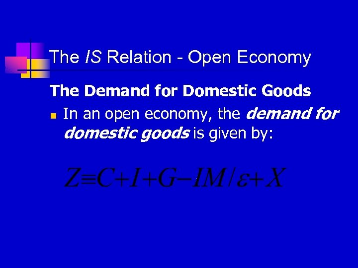 The IS Relation - Open Economy The Demand for Domestic Goods n In an