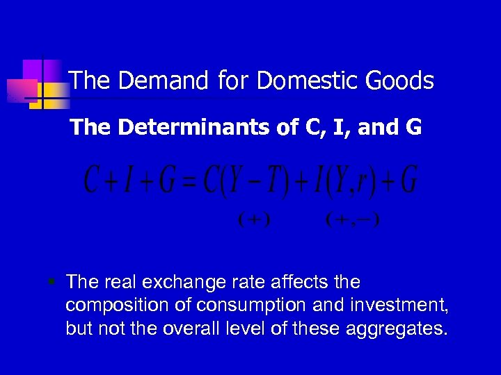 The Demand for Domestic Goods The Determinants of C, I, and G § The