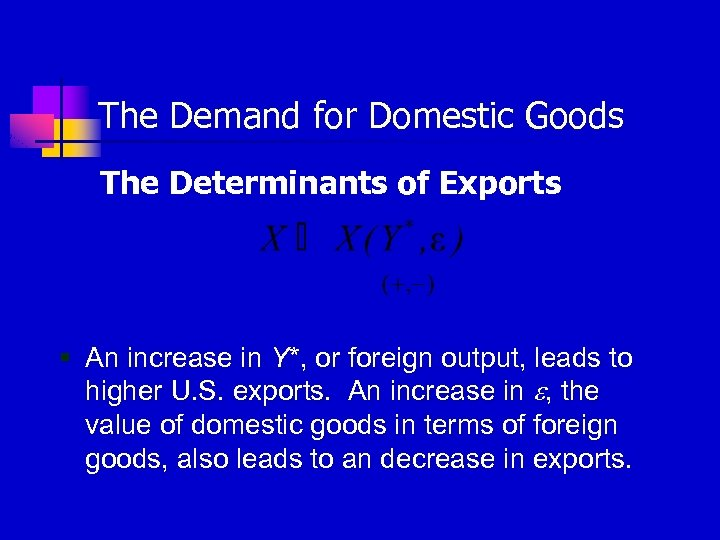 The Demand for Domestic Goods The Determinants of Exports § An increase in Y*,