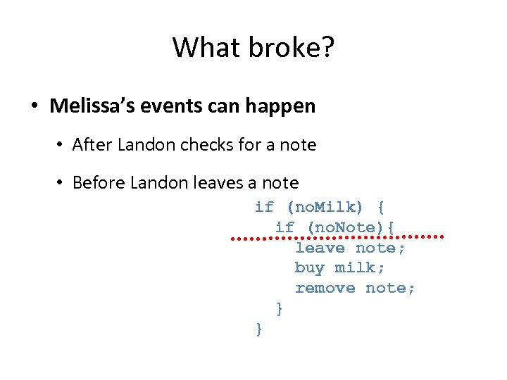 What broke? • Melissa's events can happen • After Landon checks for a note