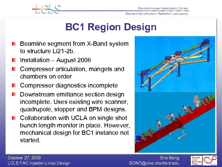 BC 1 Region Design Beamline segment from X-Band system to structure Li 21 -2