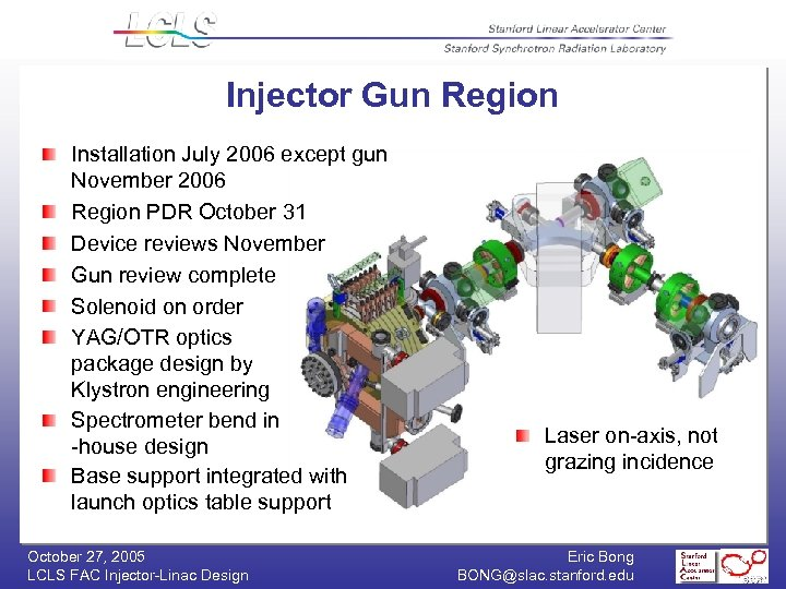 Injector Gun Region Installation July 2006 except gun November 2006 Region PDR October 31