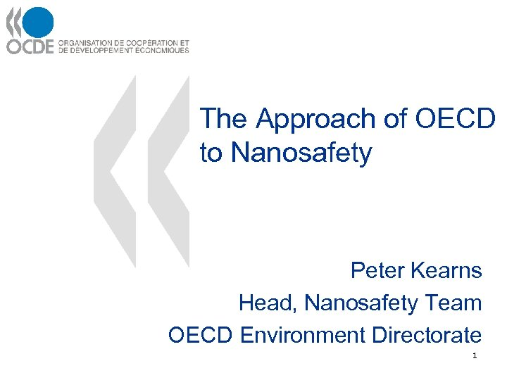 The Approach of OECD to Nanosafety Peter Kearns Head, Nanosafety Team OECD Environment Directorate