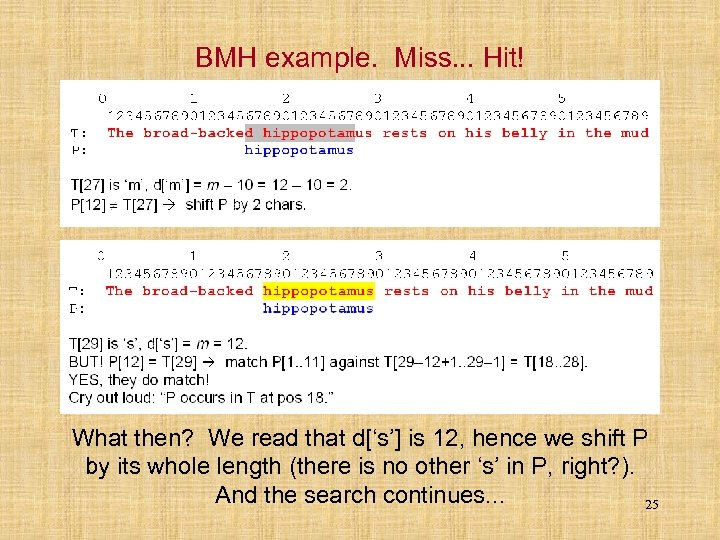 BMH example. Miss. . . Hit! What then? We read that d['s'] is 12,