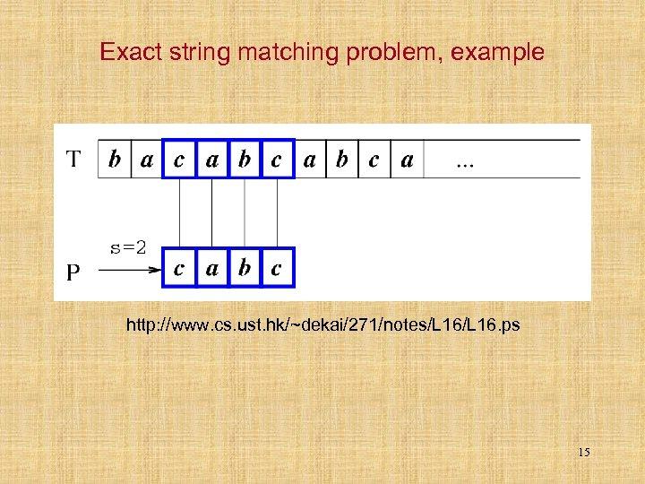 Exact string matching problem, example http: //www. cs. ust. hk/~dekai/271/notes/L 16. ps 15
