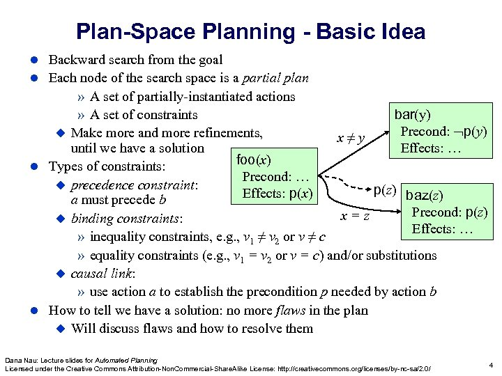 Plan-Space Planning - Basic Idea Backward search from the goal Each node of the