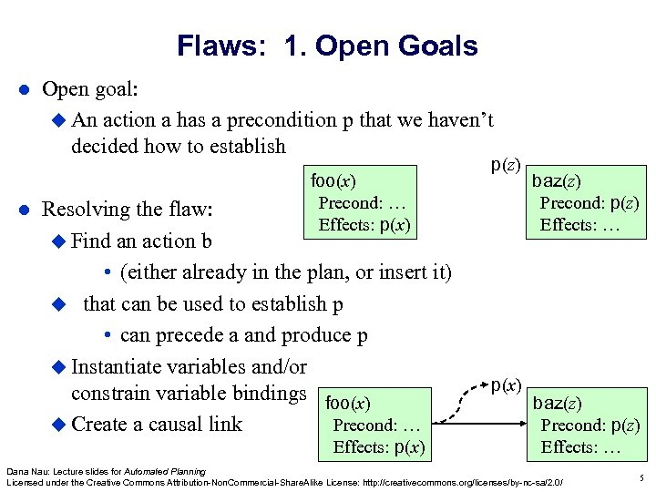 Flaws: 1. Open Goals Open goal: An action a has a precondition p that