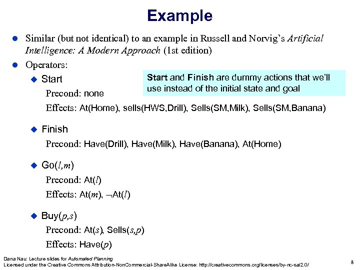 Example Similar (but not identical) to an example in Russell and Norvig's Artificial Intelligence: