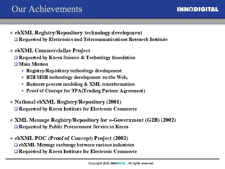 Our Achievements v eb. XML Registry/Repository technology development q v Requested by Electronics and