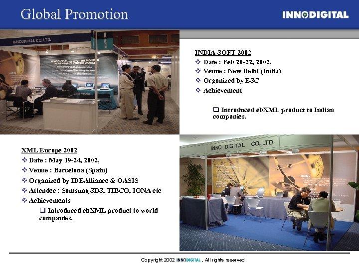 Global Promotion INDIA SOFT 2002 v Date : Feb 20 -22, 2002. v Venue