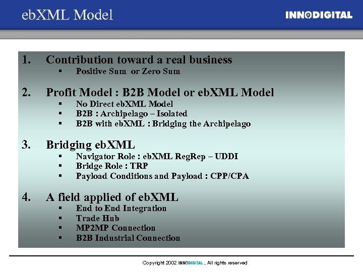 eb. XML Model 1. Contribution toward a real business 2. Profit Model : B