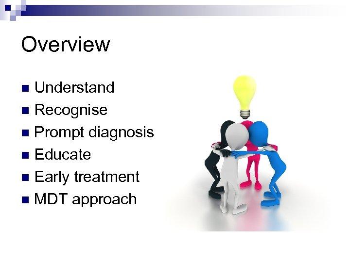 Overview Understand n Recognise n Prompt diagnosis n Educate n Early treatment n MDT
