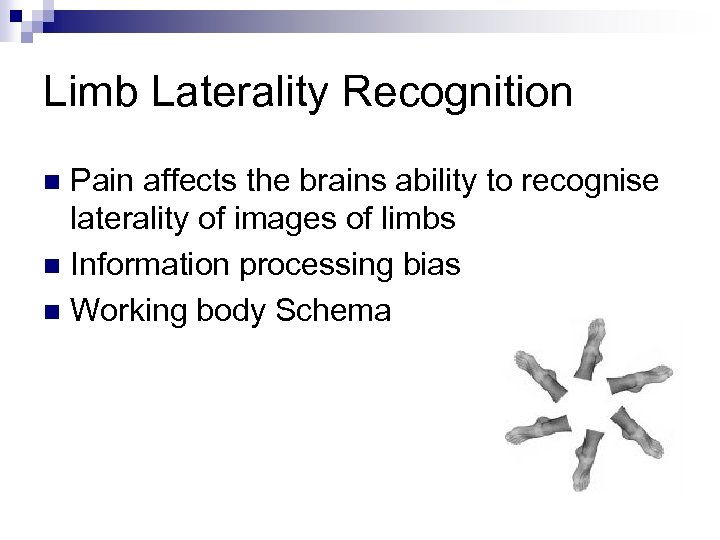 Limb Laterality Recognition Pain affects the brains ability to recognise laterality of images of