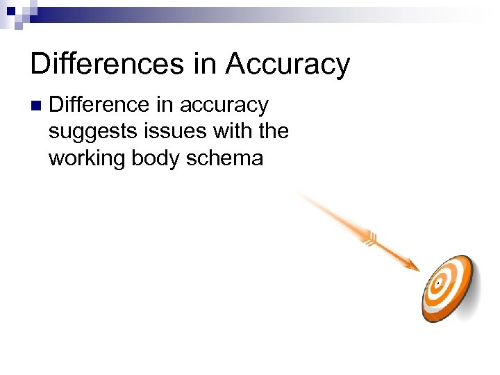 Differences in Accuracy n Difference in accuracy suggests issues with the working body schema