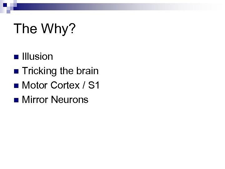 The Why? Illusion n Tricking the brain n Motor Cortex / S 1 n