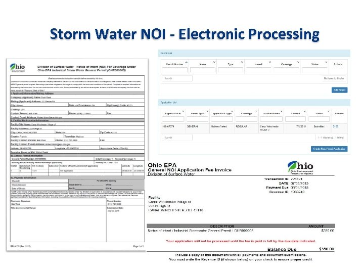 Storm Water NOI - Electronic Processing