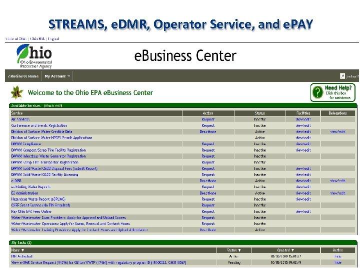 STREAMS, e. DMR, Operator Service, and e. PAY