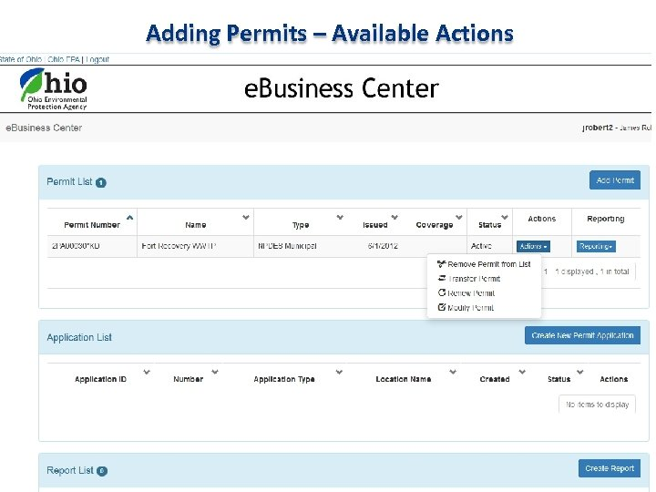 Adding Permits – Available Actions