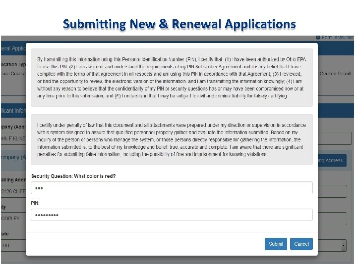 Submitting New & Renewal Applications