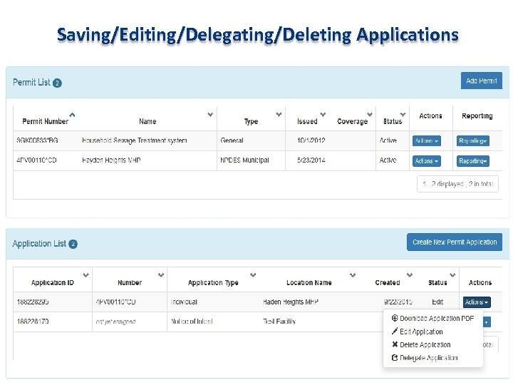 Saving/Editing/Delegating/Deleting Applications