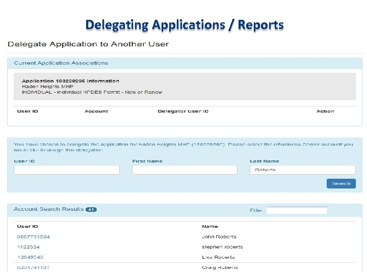Delegating Applications / Reports