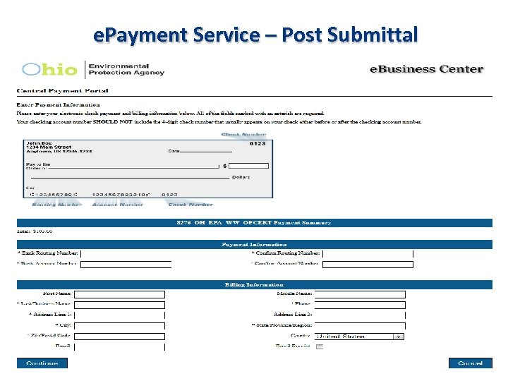 e. Payment Service – Post Submittal
