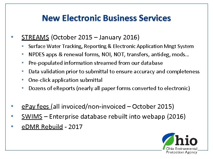 New Electronic Business Services • STREAMS (October 2015 – January 2016) • Surface Water