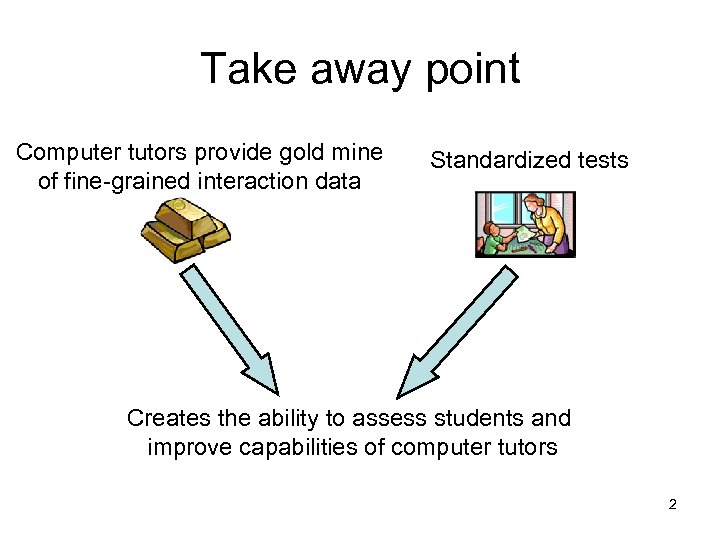 Take away point Computer tutors provide gold mine of fine-grained interaction data Standardized tests