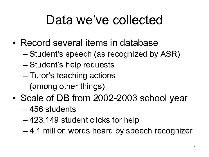Data we've collected • Record several items in database – Student's speech (as recognized