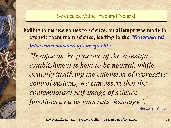 Science as Value Free and Neutral Failing to reduce values to science, an attempt