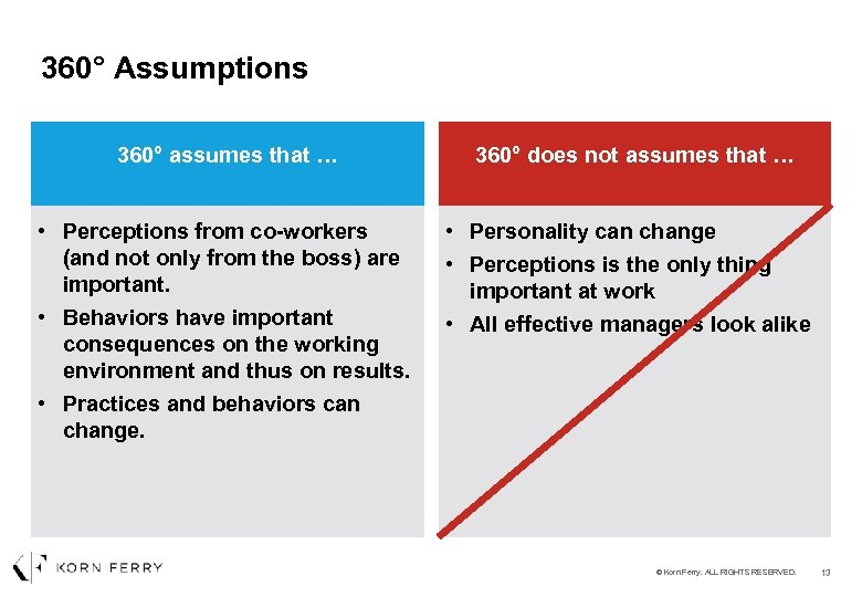 360° Assumptions 360° assumes that … • Perceptions from co-workers (and not only from