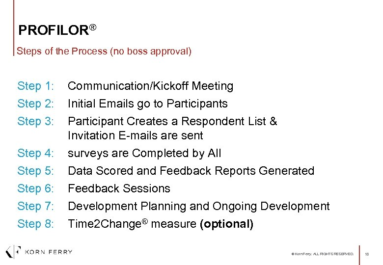 PROFILOR® Steps of the Process (no boss approval) Step 1: Step 2: Communication/Kickoff Meeting