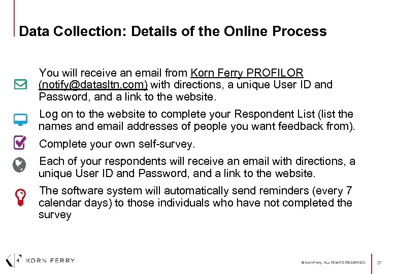 Data Collection: Details of the Online Process You will receive an email from Korn