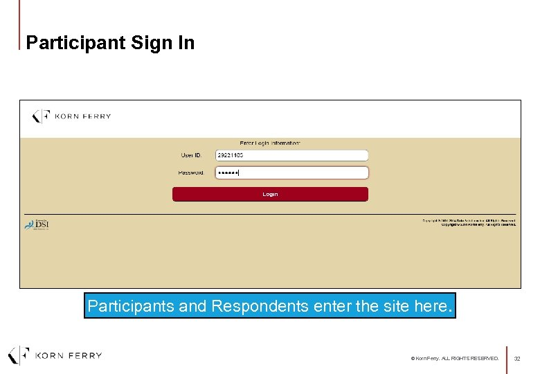Participant Sign In Participants and Respondents enter the site here. © Korn Ferry. ALL