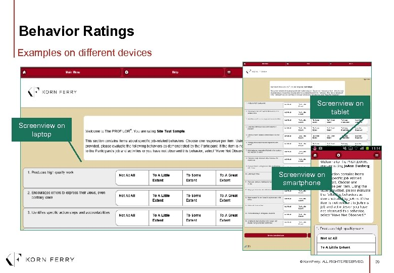 Behavior Ratings Examples on different devices Screenview on tablet Screenview on laptop Screenview on