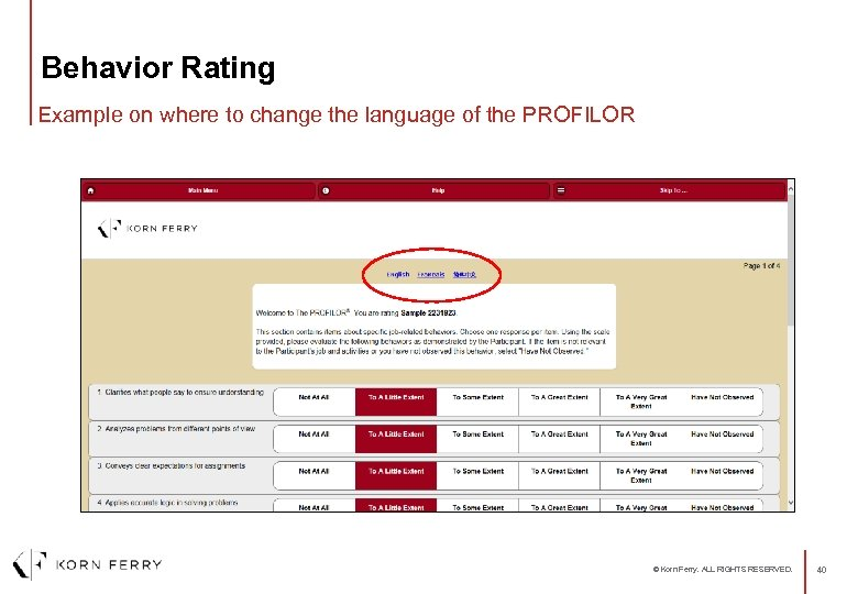 Behavior Rating Example on where to change the language of the PROFILOR © Korn