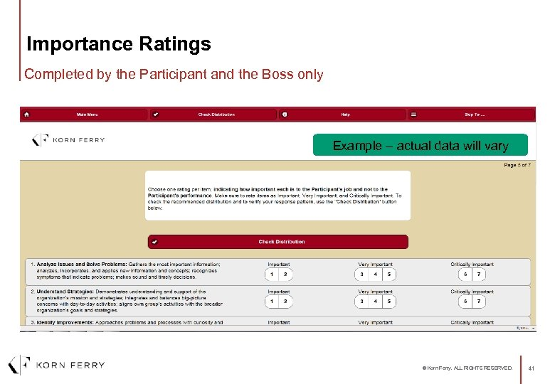 Importance Ratings Completed by the Participant and the Boss only Example – actual data