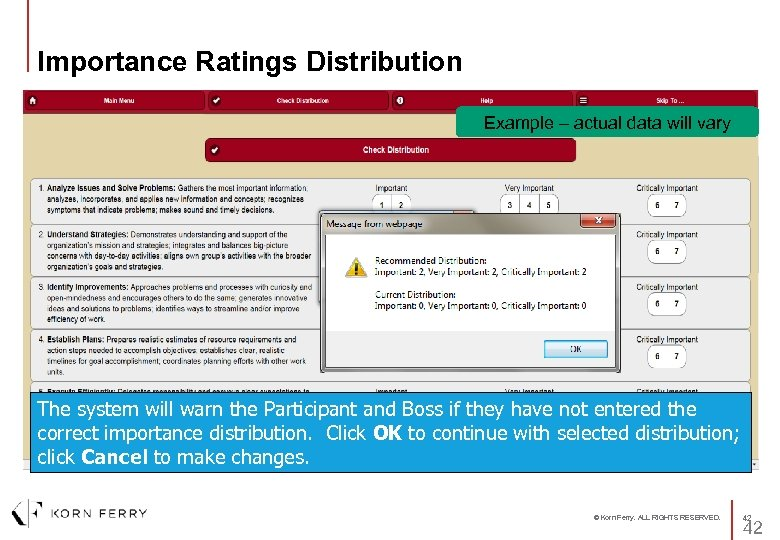 Importance Ratings Distribution Example – actual data will vary The system will warn the