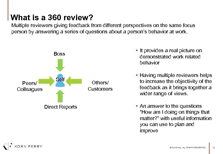 What is a 360 review? Multiple reviewers giving feedback from different perspectives on the